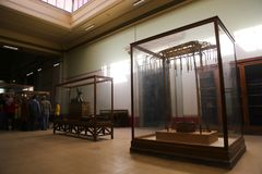 Inside the Egyptian museum. Cairo, Egypt Jan. 2018 Ancient gold and silver pieces of Tut Ankh Amon treasure Egyptian museum Stock Image