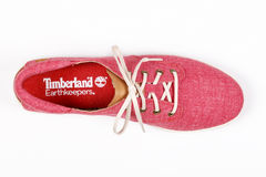 Cairo, Egypt - July 18,2015: Timberland red sneakers Royalty Free Stock Image