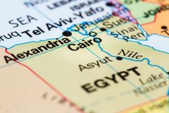 Cairo, Egypt on a map. Close up of a world map with Cairo in focus royalty free stock photography