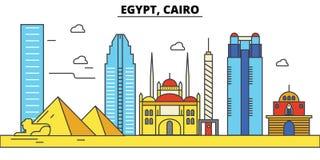 cairo Egypt Miasto linii horyzontu architektura _ ilustracja wektor