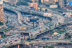 11/18/2018 Cairo, Egypt, panoramic view of the central and business part of the city from the observation deck at the highest towe stock photography