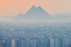 18/11/2018 Cairo, Egypt, panoramic view of the city from the observation deck of the African capital and with a large concentratio. N of smoke, harmful emissions stock photo