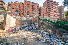 18/11/2018 Cairo, Egypt, pile of garbage lying on the streets of the African capital and accompanied by an unacceptable smear stock photo