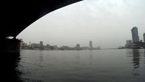 Cairo Egypt view from boat under the bridge stock footage