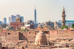 18/11/2018 Cairo, Egypt, view of the panorama of the roof of a dead city. In sunny day royalty free stock photography