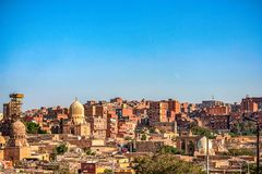 18/11/2018 Cairo, Egypt, view of the panorama of the roof of a dead city. In sunny day royalty free stock image