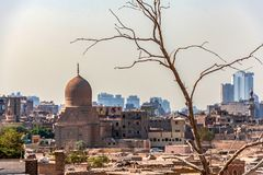 18/11/2018 Cairo, Egypt, view of the panorama of the roof of a dead city. In sunny day royalty free stock images