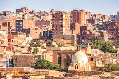 18/11/2018 Cairo, Egypt, view of the panorama of the roof of a dead city. In sunny day stock photography