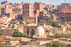 18/11/2018 Cairo, Egypt, view of the panorama of the roof of a dead city. In sunny day stock images