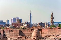 18/11/2018 Cairo, Egypt, view of the panorama of the roof of a dead city. In sunny day stock photos