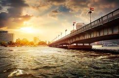 Cairo and Giza. Bridge on the Nile dividing Cairo and Giza Stock Image