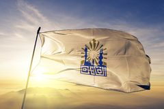 Cairo Governorate of Egypt flag textile cloth fabric waving on the top sunrise mist fog. Beautiful royalty free stock photos