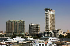 Cairo hotels. In front of the river Nile Stock Photography