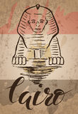 Cairo label with hand drawn Sphinx, lettering Cairo and egyptian flag Stock Image