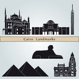 Cairo landmarks and monuments. On blue background in   file Royalty Free Stock Photos