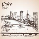 cairo linia horyzontu Egypt nakreślenie ilustracja wektor