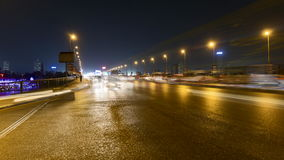 Cairo night traffic time lapse stock footage