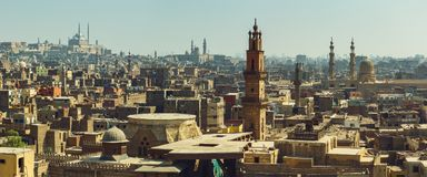 Cairo panorama with view on medieval mosques Royalty Free Stock Photo