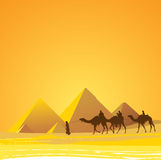 Cairo, pyramids scenic. Egypt, pyramids with tourists and guide Stock Photos