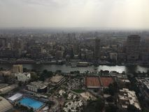 Cairo scene. Over view for greater cairo and famous building and landmark from cairo tower stock photography