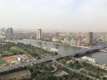 Cairo scene. Over view for greater cairo and famous building and landmark from cairo tower royalty free stock image