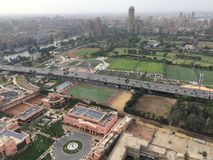 Cairo scene. Over view for greater cairo and famous building and landmark from cairo tower stock image