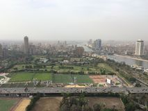 Cairo Scene. Top view for cairo showing the nile and famous places in it stock photos