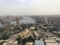 Cairo Scene. Top view for cairo showing the nile and famous places in it royalty free stock photo
