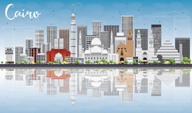 Cairo Skyline with Gray Buildings, Blue Sky and Reflections. Stock Image