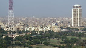 Cairo skyline with Nile, zoom out, Egypt stock video