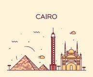 Cairo skyline trendy vector illustration linear Royalty Free Stock Image