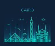Cairo skyline trendy vector illustration linear Stock Photos