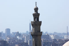 Cairo tower and minaret of sultan hassan mosque Stock Images