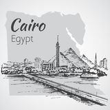 Cairo tower on the river Nile - skyline, Egypt. Sketch. Stock Photos