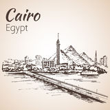 Cairo tower on the river Nile - skyline, Egypt. Sketch. Royalty Free Stock Photo