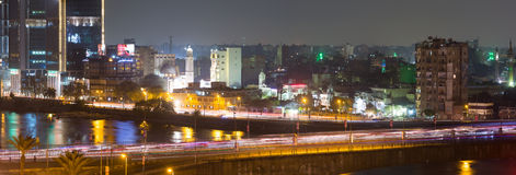 Cairo traffic light trails Stock Photography