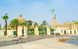 The Cairo University. The building of the Faculty of Arts of Cairo University, located at Gamaet El Qahera street in Giza, Egypt Stock Photos