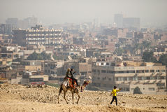 Cairo view from Giza pyramid. Giza pyramid were besieged by Cairo city royalty free stock photos