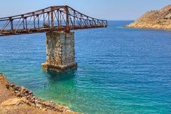 Cais abandonado, Megalo Livadi, Serifos, Greece Fotos de Stock