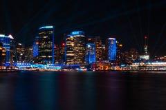 Cais circular no festival v?vido 2019 das luzes de Sydney fotos de stock royalty free