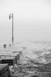Cais com muito forte vento Imagem de Stock Royalty Free