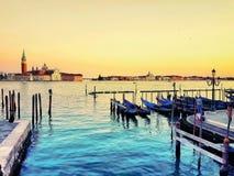 Cais da gôndola no canal grande de Veneza, Itália Fotografia de Stock