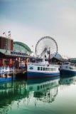 Cais da marinha em Chicago na manhã Imagens de Stock Royalty Free
