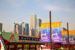 Cais da marinha em Chicago na manhã Fotografia de Stock Royalty Free