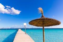 Cais da praia de Mallorca Platja de Alcudia em Majorca Imagem de Stock Royalty Free