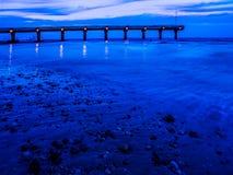 Cais da rocha do tubarão, Port Elizabeth no crepúsculo Imagem de Stock Royalty Free