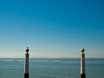 Cais DAS Colunas à la place de commerce, Lisbonne, Portugal Photographie stock libre de droits