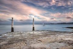 Cais das Colunas i Lissabon Arkivbild