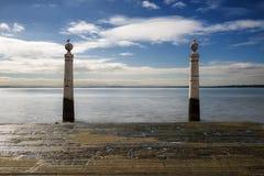 Cais das Colunas a Lisbona, Portogallo Fotografie Stock Libere da Diritti