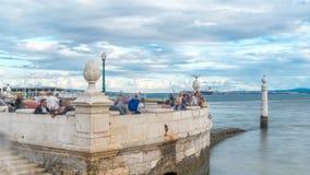 Cais das Colunas lokalizuje w Pra a robi Com rcio handlu kwadrata timelapse Portugal lizbońskiego zbiory wideo